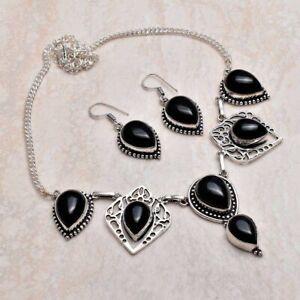 Black Onyx Ethnic Handmade Necklace+Earrings Jewelry 42 Gms AN 95954