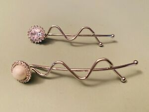 beautiful Hair Clips Plated Silver With Cristal And Shell Pearl 6.7cm