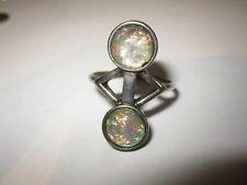toller Ring   versilbert   irisierende Steine   Gr 57