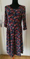 SEASALT dress UK 12 (14?) EUR 40 42 black red floral stretch jersey midi