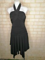 PORTMANS size XS black centre neck halter dress 90s style
