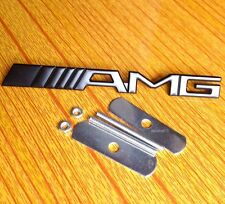NEW BLACK AMG Grill Badge Metal Chrome Front Emblem Fit CLK CLS SLK C E S CL SL