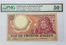 1955 Netherlands 25 Gulden PMG50 EPQ AUNC  {P-87} First Prefix AAA