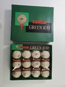 Vintage Display Box & 4 Sleeves Acushnet Green Ray 12 Golf Balls Unused NO Res