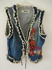 MOSCHINO VINTAGE DONNA JEANS FLORAL EMBROIDERED RUFFLED DENIM VEST 8