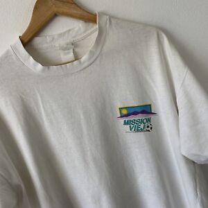Vintage Single Stitch T-Shirt Size 2XL White Mission Viejo Invitational Football