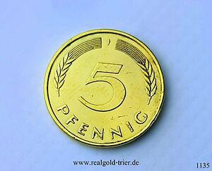 5 Pfennig 24 Karat Vergoldet 1988, J Deutschland, West Germany