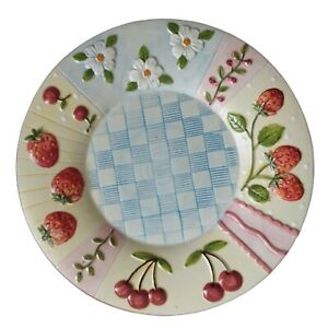 Yankee Candle Strawberry Cherries Plate Ceramic Farmhouse Country Cottage Summer