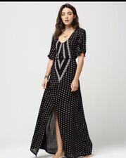 O'Neill Womens Cynthia Vincent Camara Caftan Dress Maxi Black Sz S FESTIVAL NEW