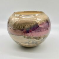 Bruce Fairman Signed Bowl Iridescent Pink Beige Drip Art Pottery 1992