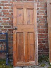 Lovely Old Antique Victorian Stripped Chunky Pine Panel Door with Hardware