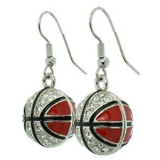 Basketball Earrings Made With Swarovski Crystal Red Earring Jewelry Gift