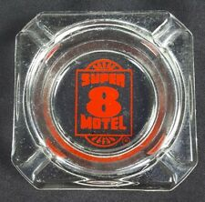 Super 8 Motel Ashtray Vintage Clear Red Glass 3-5/8 inch