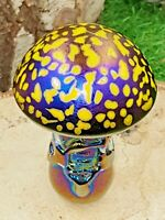 Neo Art Glass handmade yellow iridescent mushroom paperweight ornament K.Heaton
