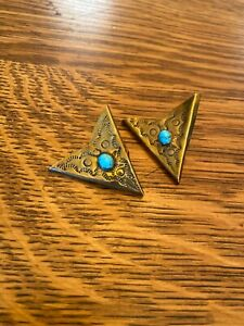 Southwestern Brass collar tips with turquoise