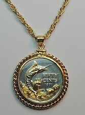 Gold & Silver Detailed Bahamas Blue Marlin Coin Necklace/Rope Bezel