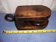 VINTAGE SINGLE ROPE TACKLE BLOCK PULLEY FARM USE MADED OF WOOD WITH  WOOD WHEEL