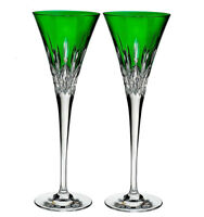 Waterford crystal Lismore Pops Emerald Champagne Flutes Set of 2 #40019533 New