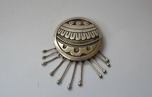 Vintage Mexican silver Aztec shield  pin brooch necklace Maricela Taxco