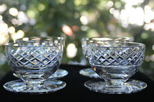 """Waterford, Irish Cut Crystal Footed Dessert Bowls (4) """"Kinsale""""/""""Maeve"""" Signed"""