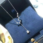 Elegant Long 925 Silver Necklaces Pendants Cubic Zirconia Wedding Party Jewelry