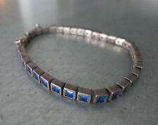 RARE_ART DECO SILBER ARMBAND_SILVER BRACELET_1920`s Germany_Blue Glass_Flapper