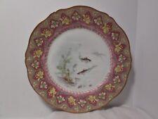 "Theodore Haviland Limoges Purple & Gold L. Martin HandPainted 9 3/4"" Fish Plate"