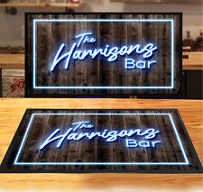 Personalised with any name Blue Neon retro Bar runner mat pubs & clubs Home Bar