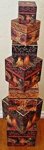 NEW Bob's Boxes (A Rooster's Holiday) 7 Piece Gift Nesting Boxes