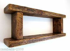 70CM SOLID RECLAIMED PLANK WOOD RUSTIC FARMHOUSE 2 TIER KITCHEN SHELF SHELVING