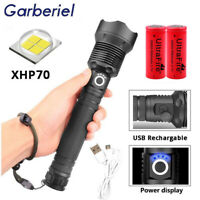 200000 Lumens Zoomable XHP70 LED USB Rechargeable 18650 Flashlight Super Bright