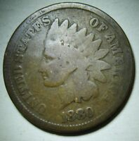 1880 Indian Head Cent in Average Circulated Condition    DUTCH AUCTION