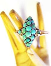 Victorian 9K Gold Turquoise Cabs Marquise Cluster Ring Antique 9 Ct Karat Sz7.25