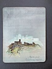 Antique CHRISTMAS Card Moonlit Castle with Glitter Silver Background Victorian