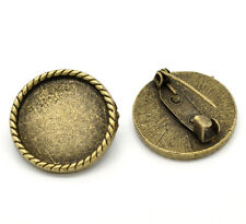 Cabochon Setting Brooch Pin Bronze Round Cameo Steampunk Findings Lot of 10