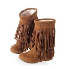 Womens Rivet Tassel Fringe Slouchy Hidden Wedge Winter Moccasin Ankle Boots warm
