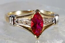 Marquise Shaped Ruby Ring With Diamond Accents 14 K Size 6.75