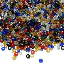 SB199 Assorted Mixed Color & Size 9/0 2mm & 6/0 4mm Rondelle Glass Seed Bead 1oz