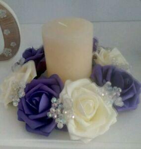 Ivory & cadbury purple rose &AB bead candle rings for weddings,Xmas Centrepiece