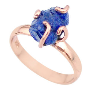 September Sale 6.38cts Sapphire Raw 14k Rose Gold Handmade Ring Size 9 T36824