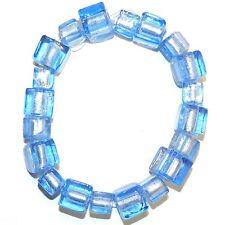 G1271 Sapphire Blue 8mm - 10mm Square Cube Lampwork Foil Glass Beads 20pc