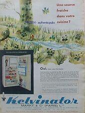 PUBLICITE REFRIGERATEUR FRIGO KELVINATOR FLEURS OISEAUX DE 1960 FRENCH AD PUB