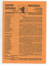 Raith Rovers v Walsall 2000 2000/01 friendly 4 page issue