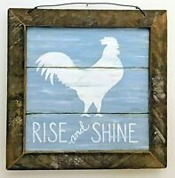 Primitive Country Rustic Home Decor- Rise and Shine Rooster Print w/ lath frame
