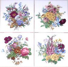 "Victorian Flower Bouquet Ceramic Tile Foxglove 4.25"" x 4.25"" Kiln Fired Decor"