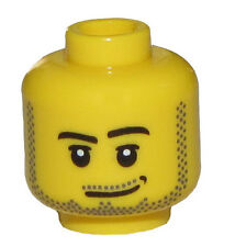 LEGO NEW MINIFGURE MALE HEAD WITH BEARD STUBBLE CHINSTRAP AND GRIN SMIRK