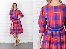 Vintage 70s Red + Blue Plaid Dress LANZ Striped A Line Knee length S
