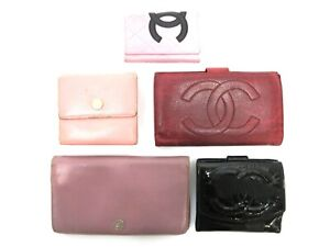 Authentic 5 Item Set CHANEL Wallet Key Case Leather Patent Leather 94212