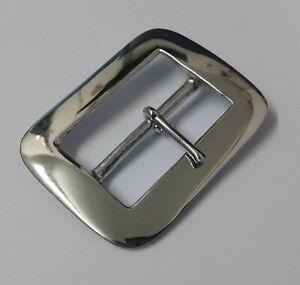 "Genuine British Military Issue 2 1/4"" Hi Sheen Chrome Prong Belt Buckle STD97"