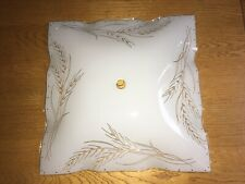 MCM White Square Glass Ceiling Light Shade Cover Wheat Pattern